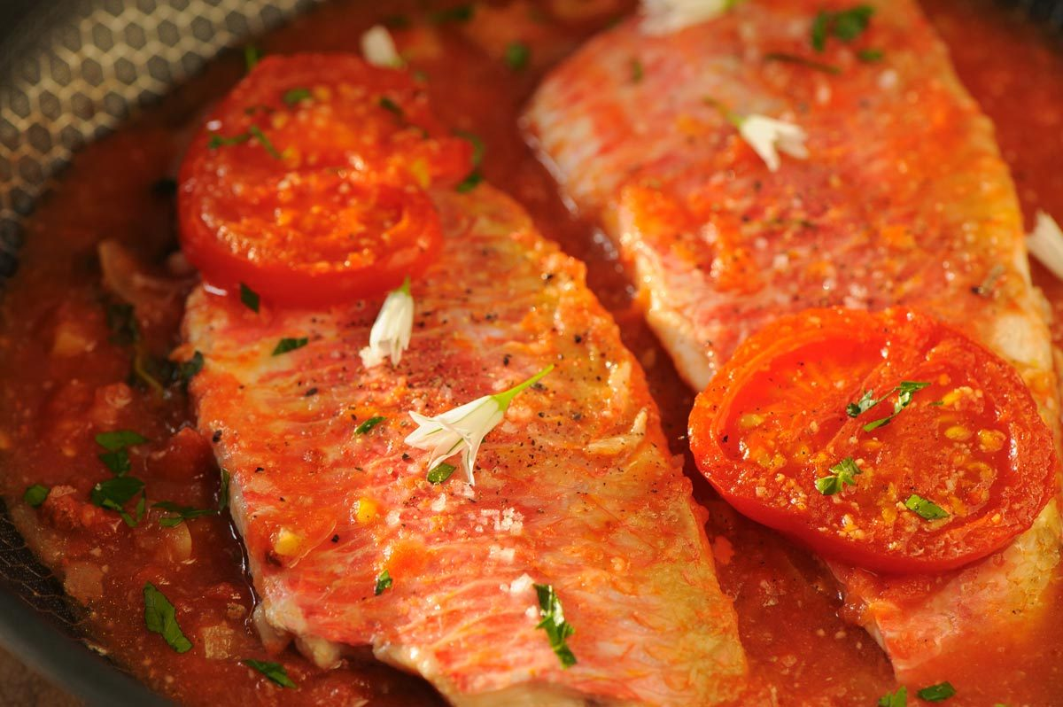 Filets de rougets sur lit de tomate